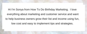 Sonya Herbert Bio for How to do birthday marketing